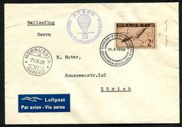 21.9.1938 Ballonflug zur Briefmarkenausstellung Aarau mit F13z ABART verschobener Druck nach rechts