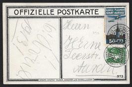 1913 Flugvorläufer Aarau Nr. I auf offiz. Karte nach Aarau