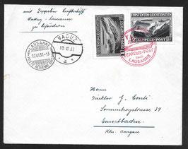 10.6.1931 Zeppelin Fahrt Vaduz - Lausanne mit Zeppelin Marke 2 Fr. und 1 Fr.