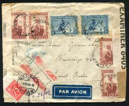 RUANDA 11.3.1942 FLP Brief von Kigali-Usumbura-Baden doppelt Zensuriert und taxiert