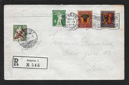 RF 19.1   30.4.1919 FLP Brief von Genf eingeschrieben nach Zürich