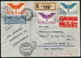 23.3.1934 FLP Brief von Luzern nach Rosario de Santa Fé, Argentinien