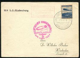 1.5.1937   Hindenburg Deutschlandfahrt nicht ausgeführt mit interessantem Text auf der Rückseite