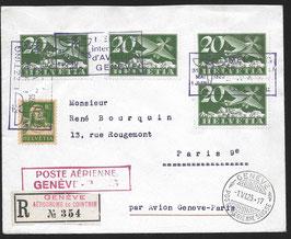 SF 25.4a. Flugmeeting Genf, Brief eingeschrieben Genf - Paris o. Vignette