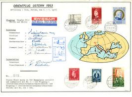 "Gedenkblatt 2.-6.4.1953 Orientflug Nr. 1 Douglas DC-4 ""HB-ILA"""