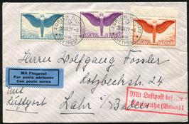 28.8.1929   FLP Brief von Zürich nach Lahr, Deutschland mit Ikarusfrankatur