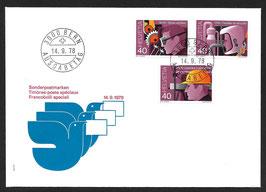 14.9.1978 Sonderpostmarken SUVA auf FDC nicht zusammenhängend!