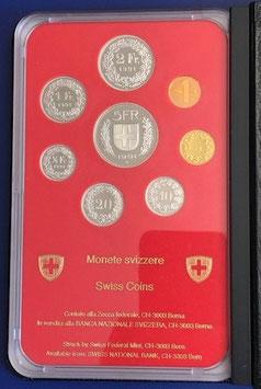1991 Münzsatz Schweiz in PP (polierte Platte) Hartplastikverpackung und Etui  rar!
