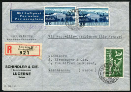 13.7.1938 FLP Brief von Luzern nach Casablanca, Marokko via Air France