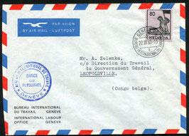 Historische Bilder 22.3.1960 Genf Bureau int. du travail nach Leopoldville, Belgisch Kongo