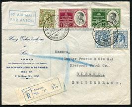 Jordanien 25.11.1953 von von Amman nach Biel, eingeschrieben