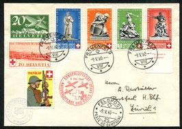 9. Mai 1940 Nationalspende und Rotes Kreuz Frauenfeld via FP25 nach Zürich Soldatenmarke