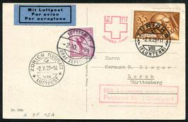 2.10.1929 4. Schweiz-Fahrt Zürich 8, Fluntern mit Mischfrankatur nach Deutschland