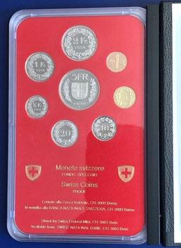 1996 Münzsatz Schweiz in PP (polierte Platte) Hartplastikverpackung und Etui