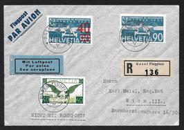 18.8.1936 F24a Aufdruck hellrot auf R-Brief nach Wien