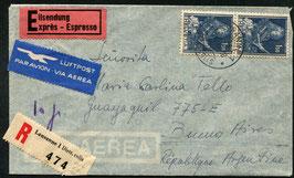 Historische Bilder 30.10.1948 Lausanne eingeschrieben Express nach Buenos Aires, Argentinien