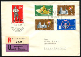 1955 Alle 3 FDC dt./ fr./ it. Werbe und Gedenkmarken 15.2.1955