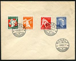 1932 Pro Juventute FDC Basel 1.12.1932 auf unadressiertem Umschlag