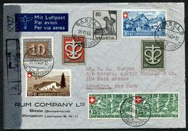 21.8.1945 FLP Brief von Basel nach New York, USA mit interessanter Frankatur, zensuriert
