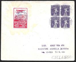 1913 Flugvorläufer Sion/Sitten Nr. Xa auf Brief nach Chiasso mit Attest