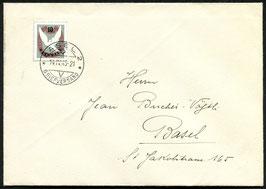 14.4.1945 FDC Blockausschnitt 100 Jahre Basler Taube auf Brief