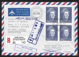 11.6.1971 FDC FLP Brief von Vaduz nach Tel Aviv, Israel Non reclamé und zurück als FDC