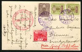 21.8.1929 Zeppelin Weltrundfahrt Etappe  Tokio - Friedrichshafen nach Biel, Schweiz