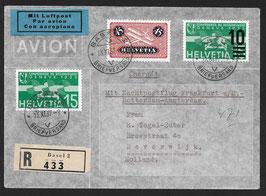 13.11.1937 FLP von Basel mit Nachtflug Frankfurt und Amsterdam, Holland