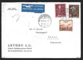 11.2.1950 FLP Brief von Münchenstein nach Kabul, Afghanistan