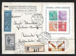 7.10.1934 NABA Zürich, Block auf FLP Brief eingeschrieben, mit Vignette der Ausstellung, Attest