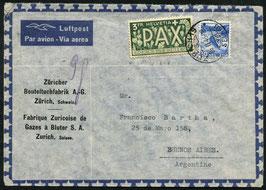 26.11.1946  FLP Brief von Zürich nach Buenos Aires Argentinien mit PAX Frankatur
