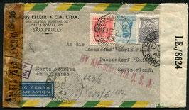 BRASILIEN 1943 Beleg von Sao Paulo nach Dübendorf, Schweiz