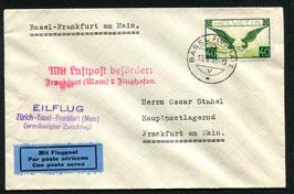 Vermerkstempel Nr. 26 violet auf Eilflug Basel nach Frankfurt 10.5.1933 SF 33.3b