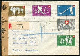 17.7.1951 FLP-Satzbrief 1951 von Cologny (Aushilfsstempel) nach Hanwell, England