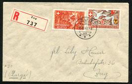 1941 Bundesfeier FDC Zug 15.6.1941 auf R-Brief nach Zug