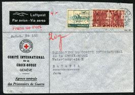 27.11.1946  FLP Brief von Genf, Rotes Kreuz nach Batavia, Ned. Indien