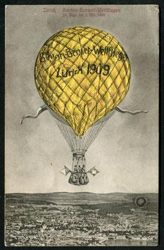 1909 Gordon Bennett-Wettfliegen Zürich GK Nr. 149 i2 Ballon gelb zum Aufblasen - rar!