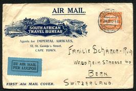 SÜDAFRIKA 27.1.1932 Dekorativer FLP Brief von Kapstadt nach Bern, Schweiz
