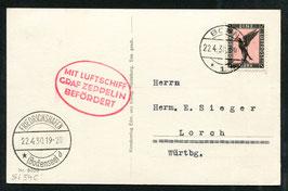 22.4.1930 Zeppelinfahrt von Bonn nach Friedrichshafen auf AK