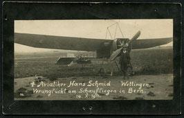 AK Aviatiker Hans Schmid, Wettingen Trauerkarte
