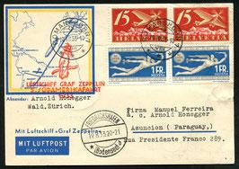 19./22.8.1933 Zeppelin 5. Südamerikafahrt nach Asuncion, Paraguay auf illustr. Karte der Hamburg-Amerika-Linie