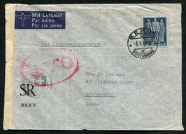 1945 O.A.T. Stempel Typ 1 rot (London) auf FLP Brief von Bern nach Götheburg, Schweden