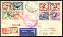 5./11.8.1936   Zeppelin 6. Nordamerikafahrt Zuleitung von den  Olympischen Spielen in Berlin