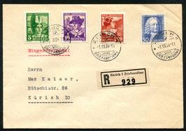 1934 Pro Juventute FDC Zürich 1.12.1934 auf eingeschriebenem Brief