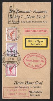 7.5.1930   BREMEN - Southampton deutsche Seepostaufgabe auf Briefausschnitt mit Zeppelin nach Lakehurst, USA