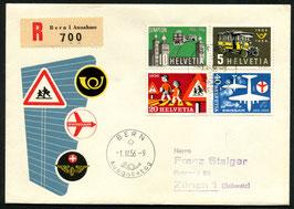 1956 Alle 3 FDC dt./ fr./ it. Werbe und Gedenkmarken 1.3.1956