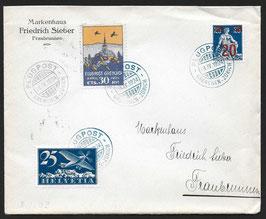 SF 24.1 Flugtag Grenchen 1924 Flug Olten-Zürich mit 30Rp. Vignette violett-orange und F5 mit verschobenem Unterdruck