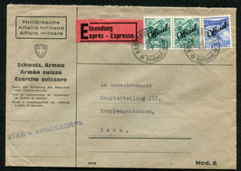 1942 Express Brief Stab 4. Armeekorps nach Bern   Verwaltungsmarken