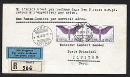 FF 28.9  San Ramon - Iquitos, Peru Erstflug auf tollem R-Brief von Basel nach Iquitos, Peru