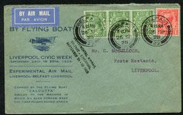 Irland 26.9.1928 Versuchsluftpost Belfast - Liverpool